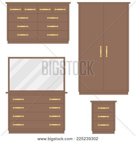 Bedroom furniture. Chest of drawers, wardrobe, dressing table, bedside table. Flat design, vector illustration, vector.