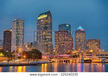 TAMPA, FLORIDA - JANUARY 15, 2015 : The skyline of downtown Tampa at Night