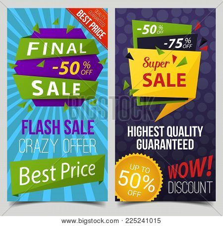 Set of isolated stickers with price discount, labels with guaranteed quality, tags backdrops for retail or trading, sale, advertising and commercial offer. Shop or store, market and promotion theme