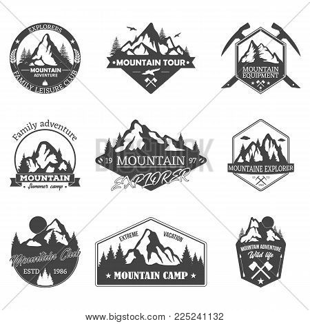 Isolated hills badges or mountain silhouette signs with moon, rocky peaks icon with axe. Tourism or travel club logo, holiday camp or hiking logotype, exploration and expedition