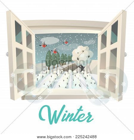 View through window with snowflakes at winter season on garden or field. Landscape with tree crown in snow and bullfinch birds. Ranch at countryside, village house and farmland, farming theme