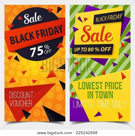 Badges or labels for black friday retail, voucher for sale discount. Tag for price, sticker backdrop for trading, coupon for price reduction, store or shop promo. Advertising, stock and shopping theme