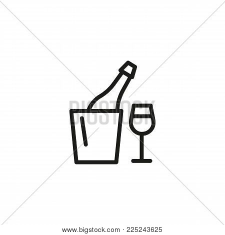 Icon of champagne in bottle cooler and glass. Bucket, ice, flute. Celebration and drinks concept. Can be used for topics like restaurant, party, hotel, service.