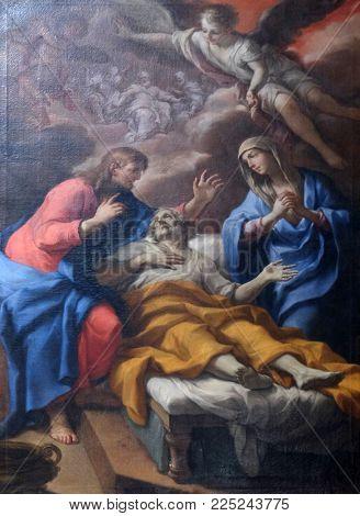 MANTUA, ITALY - JUNE 04: Death of Saint Joseph, altarpiece in Mantua Cathedral dedicated to Saint Peter, Mantua, Italy on June 04, 2017.