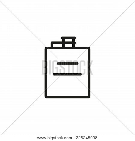 Icon of hip flask. Whiskey, hard liquor, bottle. Whiskey and bar concept. Can be used for topics like tourism, camping, travel, alcohol.