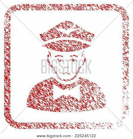 Airline Steward rubber seal stamp watermark. Human face has unhappy expression. Scratched red sticker of airline steward.