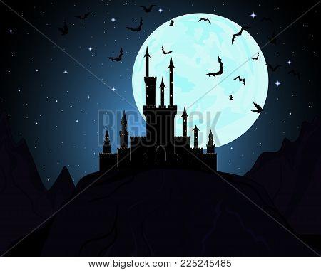 Halloween Dracula's castle with fool moon and flying bats. Vector illustration