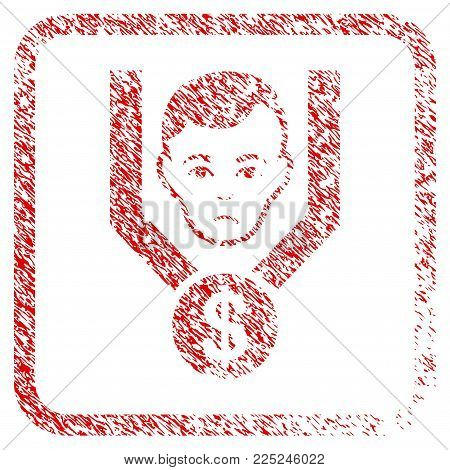 Sales Funnel Client rubber seal stamp watermark. Person face has unhappy emotion. Scratched red stamp imitation of sales funnel client.