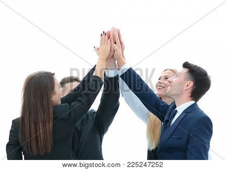 business team showing their success ,hands clasped together