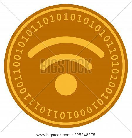 Wi-Fi golden digital coin icon. Vector style is a gold yellow flat coin cryptocurrency symbol.