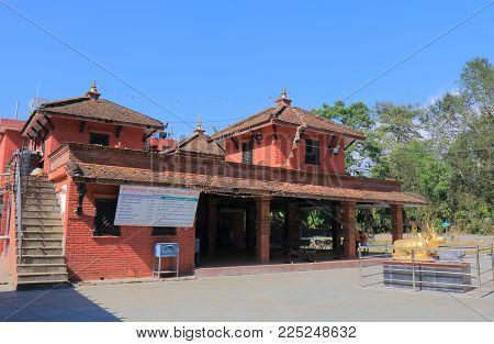 Pokhara Nepal - November 8, 2017: Unidentified People Visit Kedareshwor Mahadev Buddhist Temple Pokh