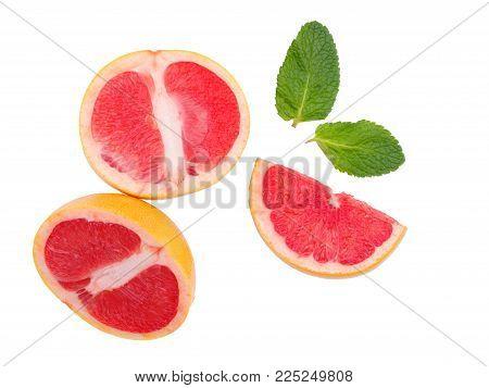Grapefruit isolated, grapefruits. Three juicy pieces of grapefruit. Top view