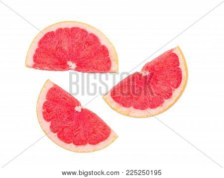 Grapefruit isolated, grapefruits. Top view.Grapefruit slices isolated on white background with copy space for your text.