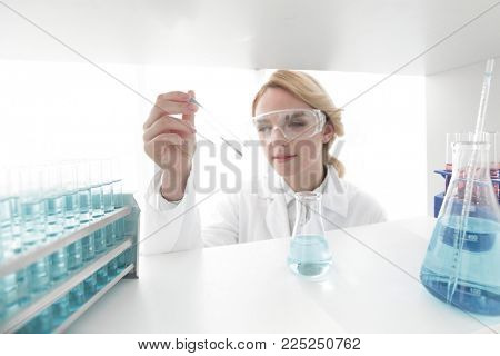 closeup.portrait of doctor biologist in the lab.