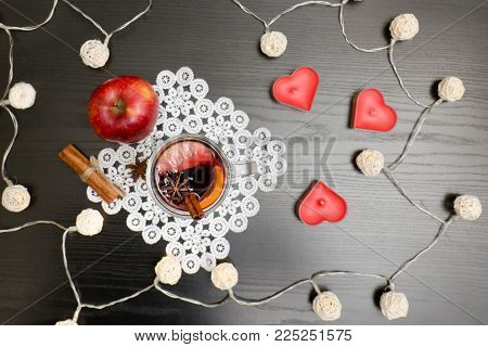 Candles In Shape Of  Heart. Mulled Wine With Spices On A Lacy Napkin, Cinnamon And Apple. Rattan Lan