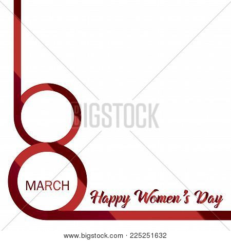 8 March. Happy Women's day greeting card with red ribbon 8 number. Vector.
