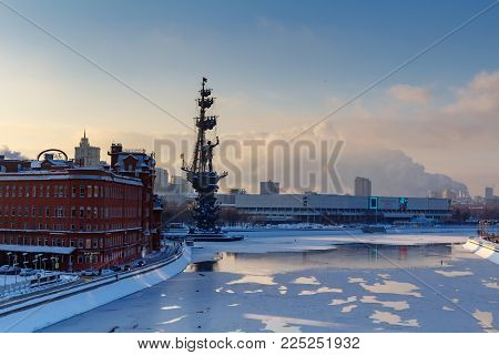 Moscow, Russia - February 01, 2018: Monument to Peter I on the Moskva River. Moscow in winter
