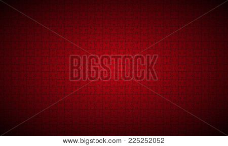 Abstract Red Puzzle Widescreen Background, Red Puzzle Pieces With Black Borders,  Vector Illustratio