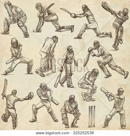 An hand drawn full sized hand drawn collection, pack. Sporting events. Team sport - CRICKET. Cricketers in action. Line art technique on old paper.