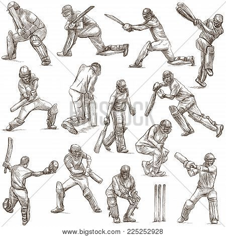 An hand drawn full sized hand drawn collection, pack. Sporting events. Team sport - CRICKET. Cricketers in action. Line art technique on white background. Isolated.