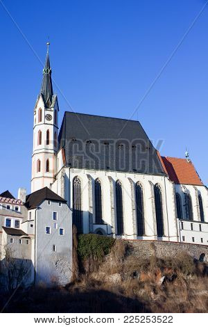 Historic church in the center of the historic city, registered in UNESCO Cesky Krumlov, Czech Republic