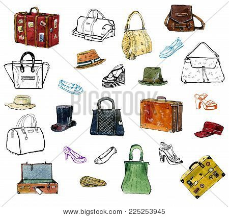 Hand drawn graphic set of clothing acessories, hats, bags, shoes and suitcases on white background - watercolor and outline