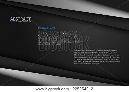 Black Background Overlap Grey And Black Sheets, Modern Abstract Widescreen Background With Place For