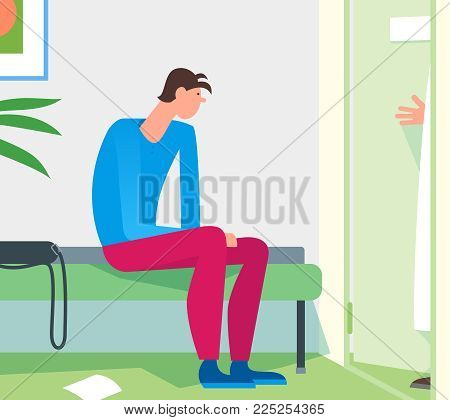 Patient Waiting Room Doctor Office. Young Man Expecting Practitioner Therapist To Invite For Examina