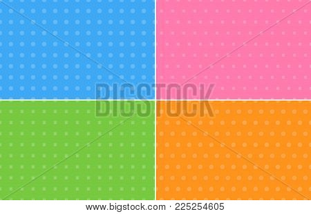 Four Abstract Backgrounds In Pastel Colors With Samples Of Dots And Squares, Modern Vector Illustrat