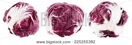 Collection Of Red Salad Radicchio On White