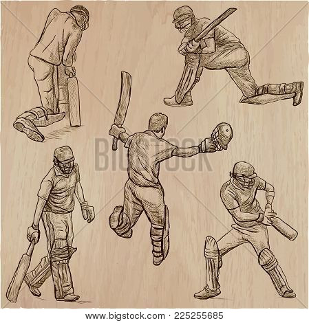 An hand drawn collection, vector pack. Sporting events. Team sport - CRICKET. Cricketers in action. Line art technique.