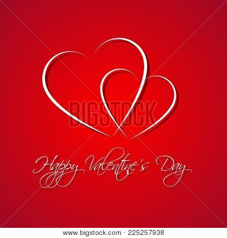 Red Simple Happy Valentines Day Card With Two Heart, Be My Valentine Background, Vector Illustration