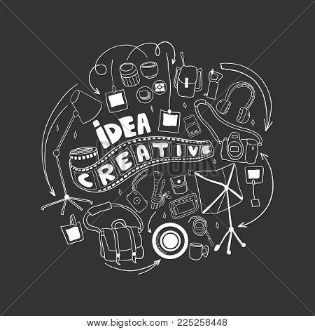 Be creative in photography. Doodle hand drawn elements. Logo for photography concept.