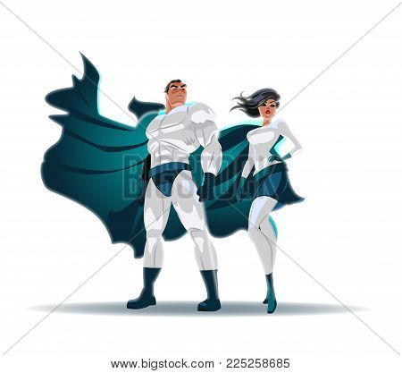 Superhero Couple: Male and female superheroes, posing in front of a light. City background. Isolated. Vector illustration