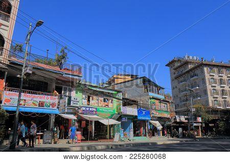 Pokhara Nepal - November 8, 2017: Unidentified People Visit Shopping Street In Pokhara Nepal.