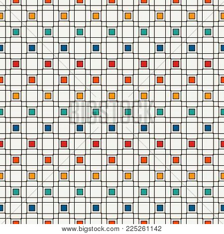 Seamless Pattern With Geometric Ornament. Diagonal Stripes Grill Background. Crossing Lines Wallpape