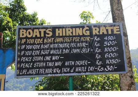 Pokhara Nepal - November 8, 2017: Fhewa Lake Boat Hire Price List In Pokhara Nepal.