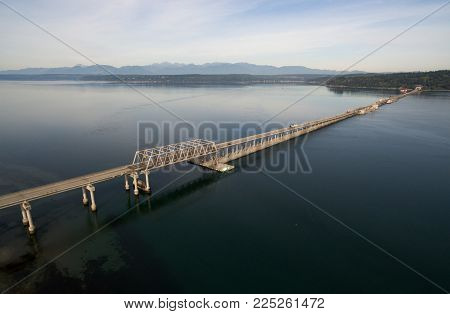 Commuters move across the Puget Sound on the Hood Canal Bridge connecting Olympic and Kitsap Peninsulas