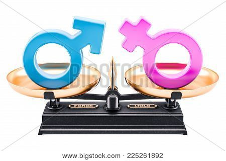 Balance concept, equality of men and women. 3D rendering isolated on white background