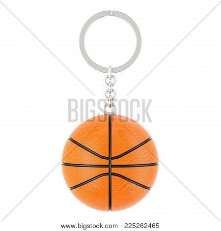 Keychain with basketball ball, 3D rendering isolated on white background