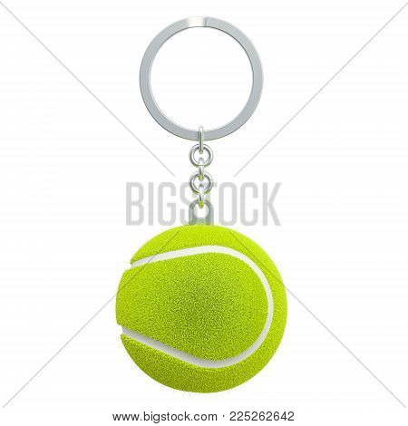 Keychain with tennis ball, 3D rendering isolated on white background