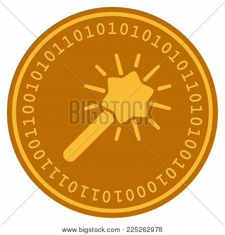 Wizard Wand golden digital coin icon. Vector style is a gold yellow flat coin cryptocurrency symbol.