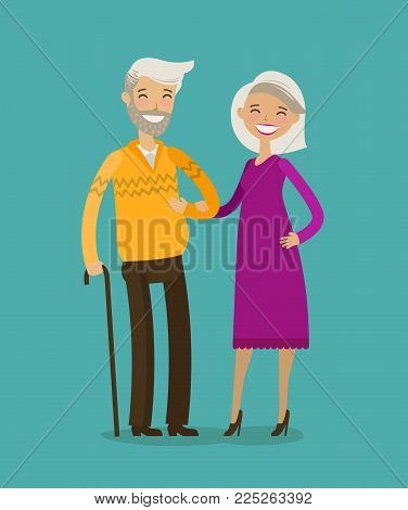 Happy elderly people, retired. Cartoon vector illustration