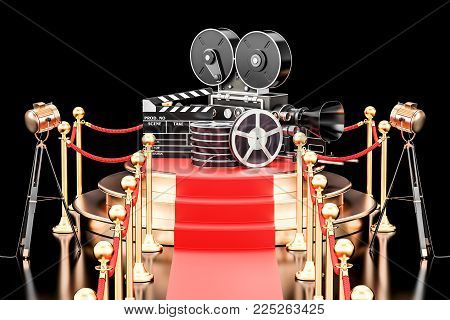 Movie Presentation concept. Podium with film reel, clapperboard and camera. 3D rendering isolated on black background
