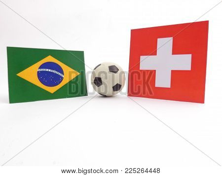 Brazilian and Swiss flag with football ball isloated on white background