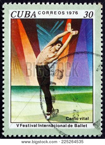 Cuba - Circa 1976: A Stamp Printed In Cuba Shows Scene From Ballet Vital Song, 5th International Bal