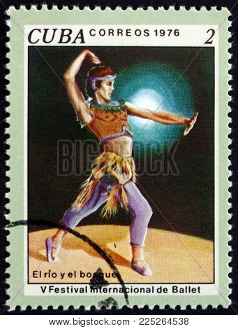Cuba - Circa 1976: A Stamp Printed In Cuba Shows Scene From Ballet The River And The Forrest, 5th In