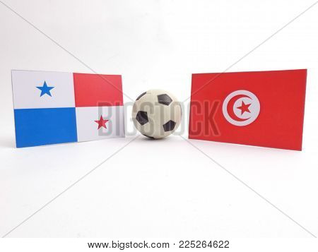 Belgrade, Serbia. Febuary 5th 2018. Panamanian and Tunisian flag with football ball isloated on white background