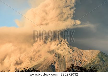 Fuego volcano erupting just after dawn near Antigua, Guatemala, Central America