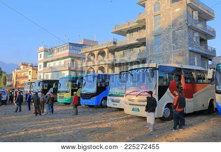 Pokhara Nepal - November 9, 2017: Unidentified People Travel At Long Distance Bus Terminal In Pokhar